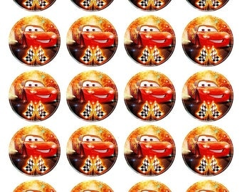Cars Lightning Mcqueen Inspired Cupcake Toppers. Cupcake Edible Icing Print. 20 Cupcake Decorations