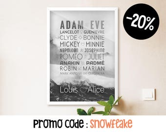 Customizable Poster, Famous Couples, Custom Names, Wedding Gift, Valentines Day, 50 x 70 poster, Typographic Print, Digital PDF Download