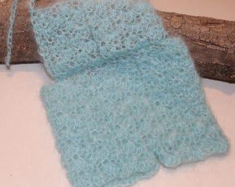 Mohair/Lace Crochet Newborn Tie Up Romper