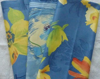 3 COUPONS BLUE FABRIC HAS LARGE FLOWERS
