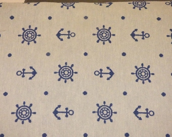 FABRIC REVERSIBLE BLUE AND WHITE MARINE THEME
