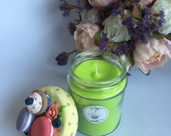 Green Lemon Scented Candle / Polymer Clay Flowers and Macaroons Lid / Unique Designed Candle / Love Gift for Her