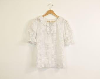 White ruffle blouse | Etsy