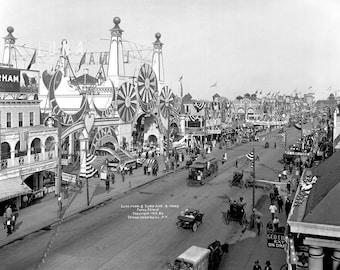"1912 Surf Avenue and Luna Park, Coney Island, NY Vintage Photograph 8.5"" x 11"""