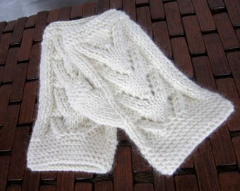 Snow - perforated - angora and wool mittens hand knitted