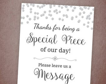 Please Leave a Message for the New Couple, Silver Confetti, Wedding Party Sign Printable, Write a Message, Guest Book, New Mr and Mrs, A003