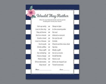 Would They Rather, Kate Spade Bridal Shower Game Printable, Wedding Shower Game, Who knows the Bride Best, Silver Blue White Stripes, BSG19