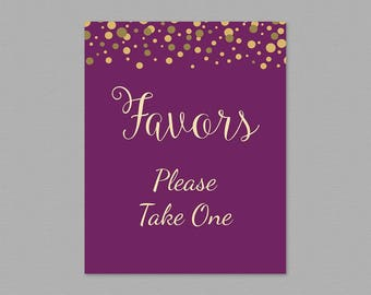 Favors Please Take One Sign Printable, Purple Gold Confetti, Thank You Sign, Bridal Shower Sign, Wedding Favor Sign, Party Decorations, A006