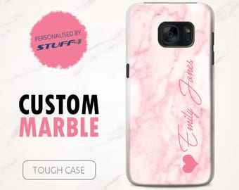 Personalised Custom Marble Phone Case for Samsung Galaxy S7 Edge/S6/S5/S4 Mini Plus/Pink Signature/Personalized Tough Cover Name/Initial