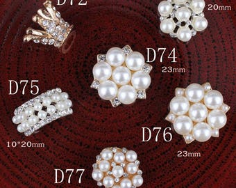 Hot Fix Vintage Metal 3D crown/snow/bridge Crystal Pearl Buttons Alloy Flatback Rhinestone Buttons for Hair Accessories
