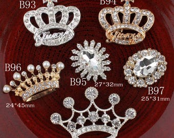 Vintage crown/oval/flower Metal Rhinestone Buttons Bling Flatback Flower Centre Crystal Buttons for Hair accessories