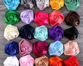 "1.5"" 16Colors Flat Back Mini Satin Ribbon Rose Flower For Hair Accessories Handmade Rolled Rosettes For Hair Clip Or Headband DIY"