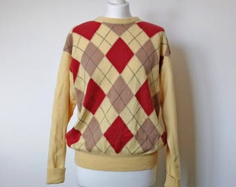 Vintage lambswool sweater // lambswool jumper // wool golfer's jumper // argyle sweater // Scottish lambswool // size large