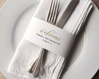 Napkin Wrap Place Card Template, Printable Wedding Place Cards, Napkin Ring Place Setting, Editable Wedding Place Cards Template - KPC03_208