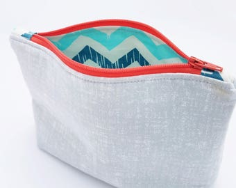 Make up bag, makeup bag, cosmetic bag, cosmetic case, zip bag, zip pouch, solid gray, gray, orange
