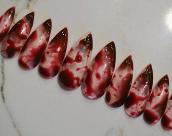 Glass blood spatter press on nails  | Any size or shape | Fake nails | glue on nails | False nails | Matte nails | Stiletto nails |