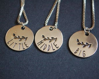set of three little middle bid sister necklaces
