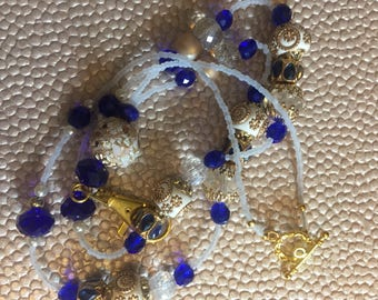 Royal Blue, Gold, and White Beaded Lanyard