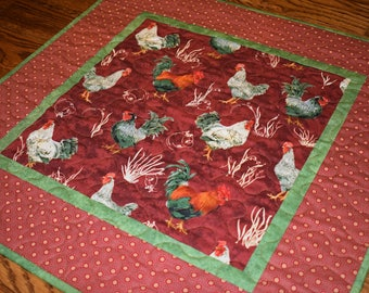 Chicken Table Topper, Rooster Table Topper, Quilted Table Topper, Rust and Green Table Topper, Chicken Table Runner,  Rooster Table Runner