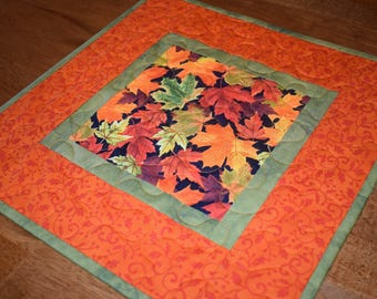 Fall Leaves Quilted Table Topper, Fall Table Topper, Quilted Table Topper, Autumn Table Topper, Fall Table Decor, Orange Green Table Topper