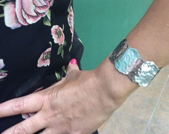 Drifting Cloud. Handmade One of a Kind Sterling Silver Cuff Bracelet