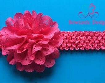 Baby Headband, Flower Headband, Headband, Baby Accesories, Shabby Flower, Crochet Headband
