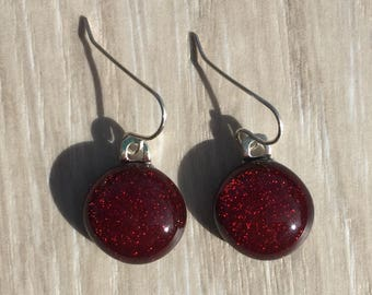 Dichroic Fused Glass Earrings - Red Earrings with Solid Sterling Ear Wires
