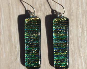 Dichroic Fused Glass Earrings - Orange Yellow Line Texture with Solid Sterling Silver Ear Wires
