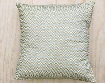 Mint Metallic Zigzag Pillow