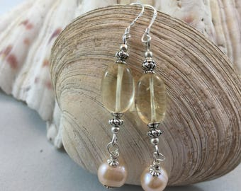 Yellow Citrine Cultured Pearl Crytal Silver Plated Bead Drop/Dangle Earrings with .925 Silver Wires
