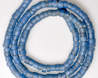 23 Inch Strand of Old European Blue Glass Beads - Vintage African Trade Beads - C-76-165