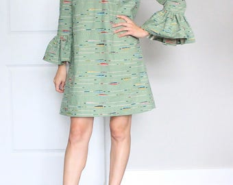 Bell Sleeve Jade Linen/Cotton Blend Arrow Print Dress - Ready To Ship