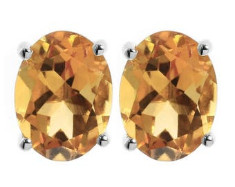 Neerupam Collection 92.5% Sterling Silver Natural Oval Citrine Solitaire Stud Earrings