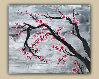 Cherrt Blossoms Abstract Acrylic Painting
