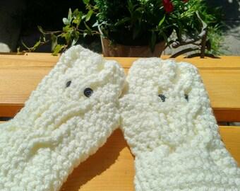 Owl Gloves, Fingerless Owl Mittens, Handmade Crochet Owl Gloves, Texting Gloves, Chunky Hand Warmers