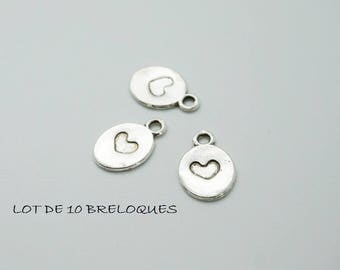 set of 10 charms heart engraved in Silver Circle (D70)