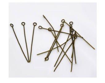 set of (50 supports) stem to eye bronze 4cm (Z18)