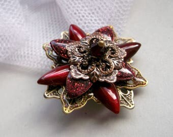 Red Flower Brooch Brass Flower Brooch Hand Painted Brooch Victorian Brooch Vintage Brooch Bronze Brooch Wine red Brooch For Her  Art Nouveau