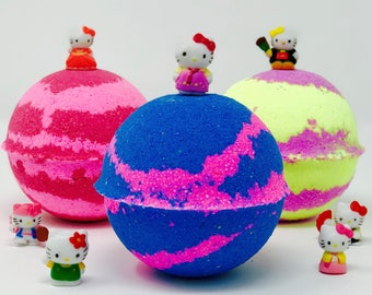 Sale! 5 or 10 7.0 oz Hello Kitty Inspired Birthday Bath Bombs Party Set with Hello Kitty Toy inside.