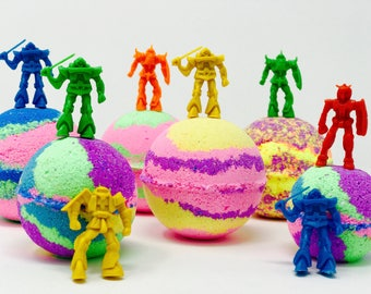 SALE! 3 7.0 oz Robot Warrior Soldier Bath Inspired Bath Bomb Party Favor Set with Surprise Robot Toy Figures inside each bath bomb