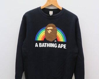 Vintage A BATHING APE Japanese Clothing Brand Black Sweater Sweatshirt Size M