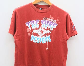 Vintage T&C Town And Country Surf Design Hawaii Get Higher Red Tee T Shirt Size M