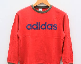 Vintage ADIDAS Triline Big Spell Sportswer Red Sweater Sweatshirt