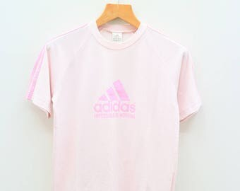 Vintage ADIDAS Impossible is Nothing Triline Big Logo Sportswear Pink Tee T Shirt Size L