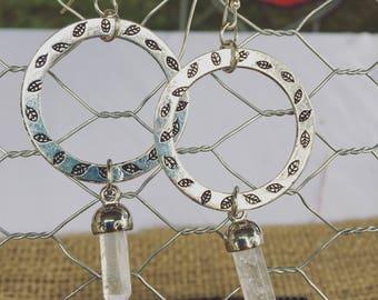 Silver Quartz Point Drop Earrings - Falling Leaf Detail - Gemstone Drop Earrings