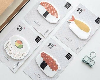 Japanese Cuisine Sticky Notes ~ Sushi Mini Sticky Memo Pad, Planner Accessories, Decorative, Stationery, School Supplies, Tag Label Bookmark