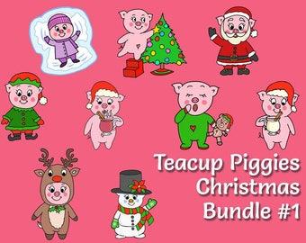 Teacup Piggies Christmas Bundle #1 - Mini Planner Stickers - Christmas Mini Planner Stickers - Holiday - This Little Piggy Celebrates Xmas