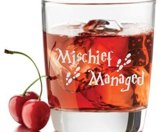 Mischief Managed , Engraved Rocks Glasses, Custom Rocks Glasses, On The Rocks Glasses, Engraved Rocks Glass