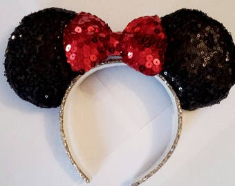 Mickey Mouse Minnie Disney sequin ears, mouse ears, disney ears, glitter, disney, disneyland, party, bridal.