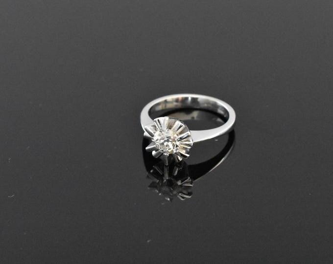 18K White Gold Old Cut Diamond Ring